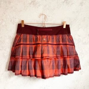 Lululemon Pace Setter Skirt Buffalo Plaid Red 8